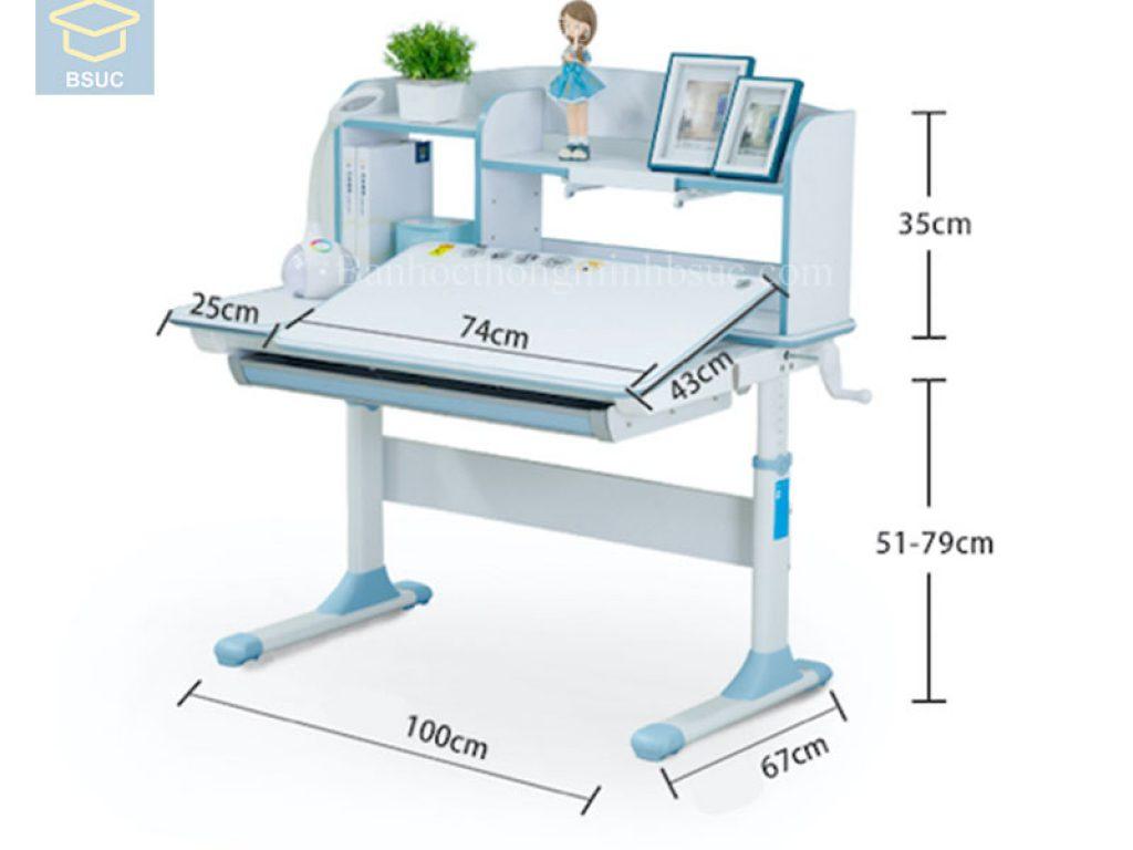 kích thước dài rộng cao của bàn học bsuc màu xanh