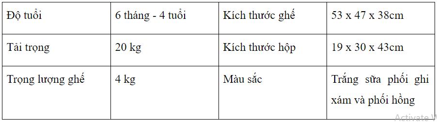 bảng kích thước